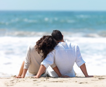 Rear view of a couple sitting on beach